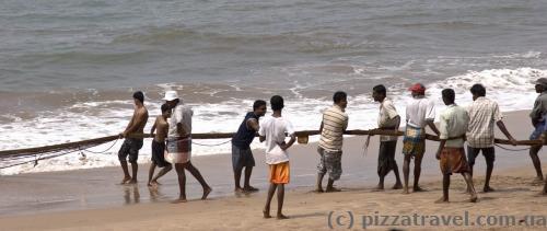 Рыбаки тянут сеть. Иногда туристы помогают =)