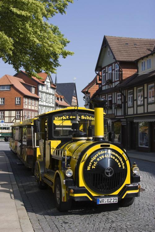 Городской поезд возит туристов к замку.