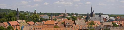 Вид на Кведлинбург со смотровой площадки в замке