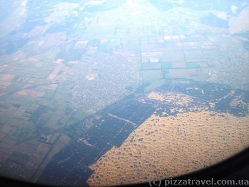 Вид на Олешковские пески с самолета