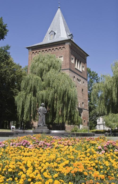 Колокольня костела Св. Варфоломея и памятник Юрию Дрогобычу