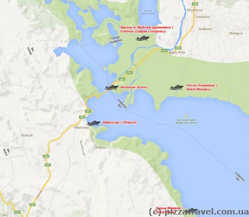 Скадарское озеро. Карта