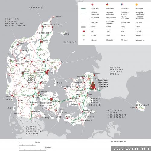 Карта Дании