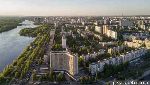 Residential area Rusanovka and hotel Slavutych