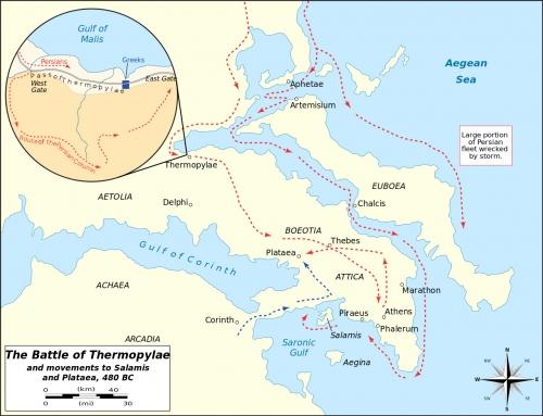 Битва при Фермопилах и передвижения армии царя Ксеркса