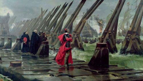 Кардинал Ришельё на осаде Ла-Рошели (Анри Мотте, 1881)