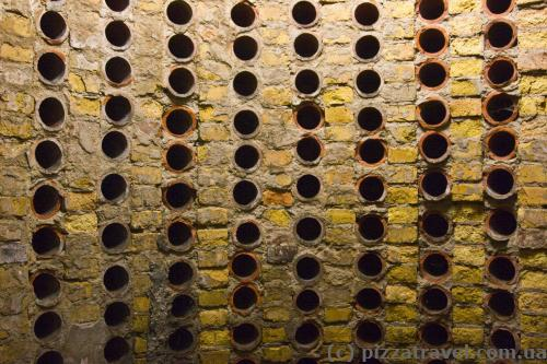 Wine was stored in the walls of one of the towers.